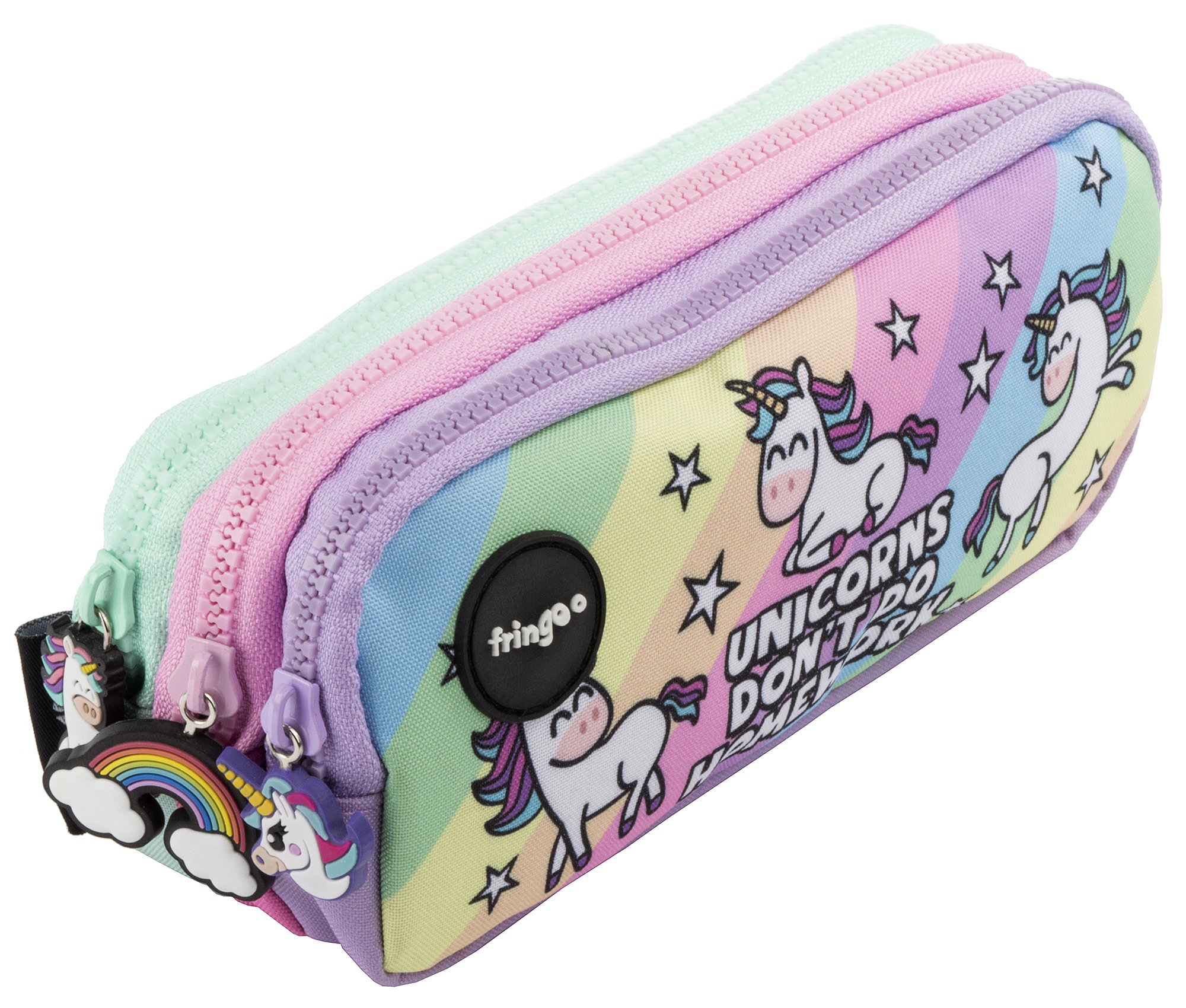 Estuche para lápices de 3 compartimentos FRINGOO, para niños, divertido y bonito, color Unicorns & Homework - 3 Compartments Large: Amazon.es: Oficina y papelería