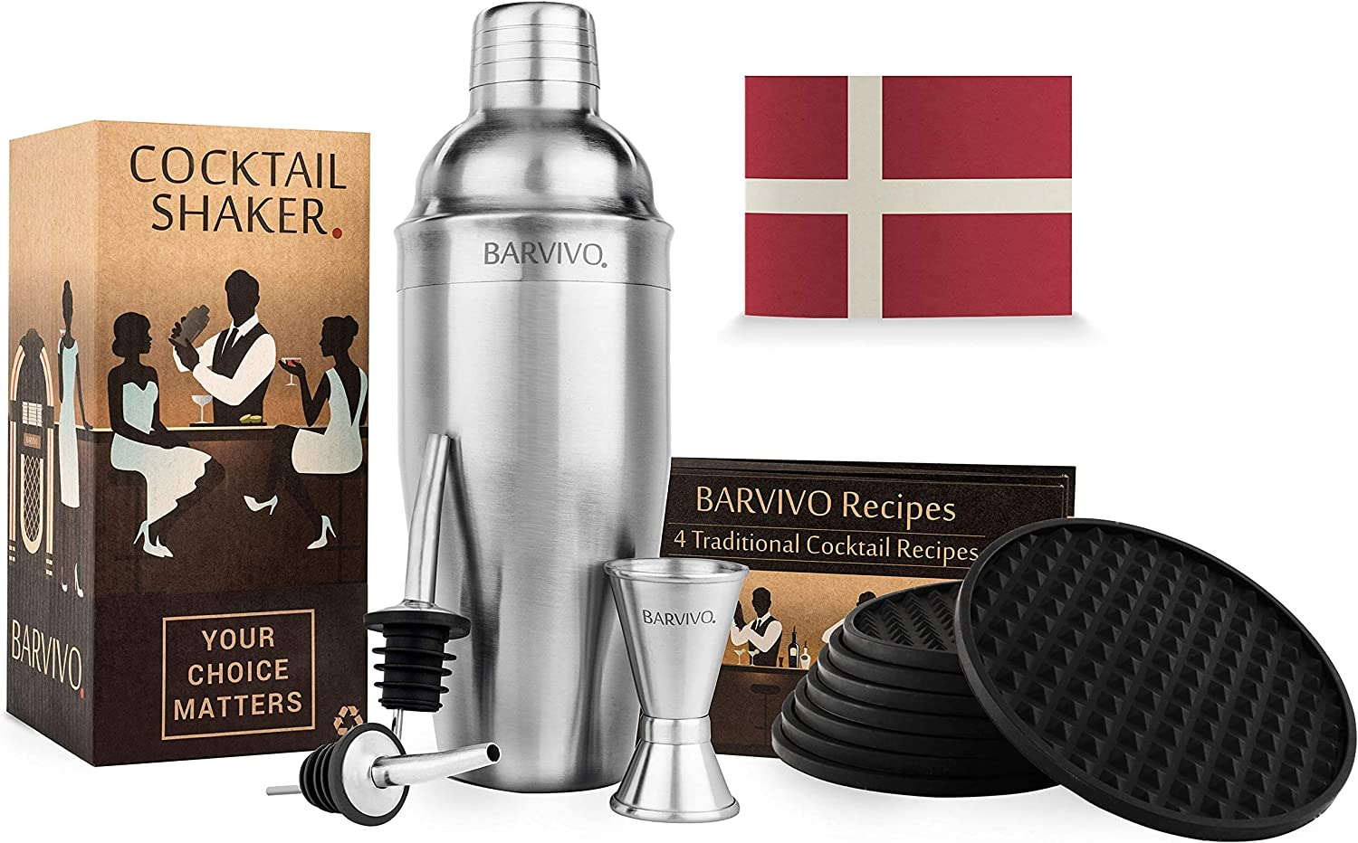 BARVIVO Cocktail Shaker and Coasters an Serve Product Beautiful - Cheap sale Bundle