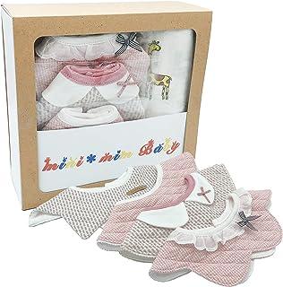 [B.H] 出産祝い 綿100% 「 よだれかけ & おくるみ 」 プレゼント ギフト スタイ 女の子