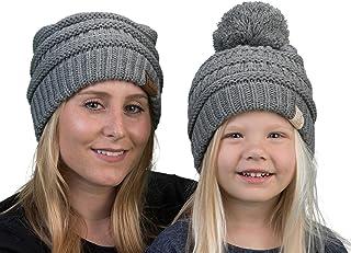 Mother(NO POM)/Daughter(POM) Winter Hat Bundle - Heather Grey