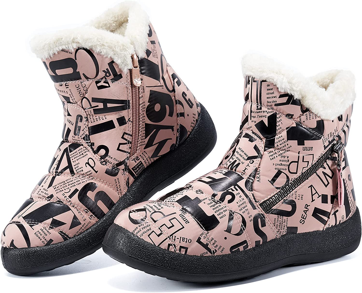 Women Snow Boots Winter Shoes with Warm Fur Lined Ankle Boot Non