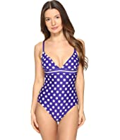 Kate Spade New York - Polka Dot V-Neck One-Piece Swimsuit
