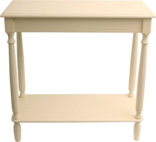 cream console table with shelf