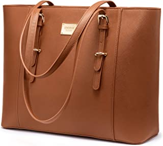 Laptop Bag for Women Large Office Handbags Briefcase Fits Up to 15.6 inch (Updated Version)-Brown