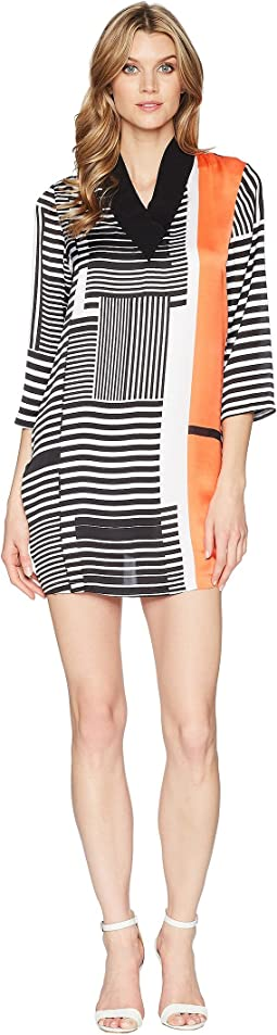 Kenneth Cole New York V-Neck Ribbed Dress