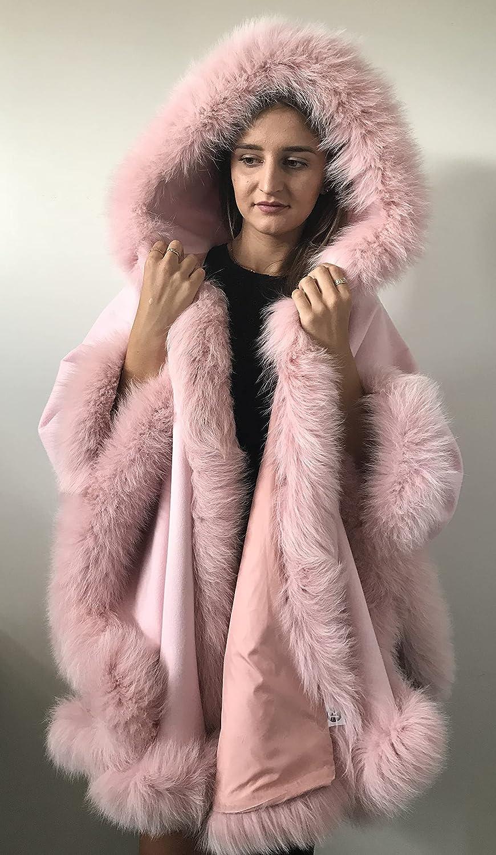 Poncho latest Cape hood Max 50% OFF cashmere fur trim fox