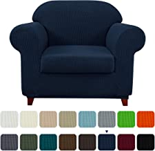 Subrtex 2-Piece Plaid Jacquard Stretch Couch Slipcovers, Chair, Navy