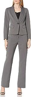 Le Suit Women's 1 Button Shawl Collar Dashed Two Tone Novelty Pant Suit