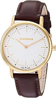 Wenger Women's Urban Classic Stainless Steel Swiss-Quartz Leather Strap, Brown, 17 Casual Watch (Model: 01.1721.112)