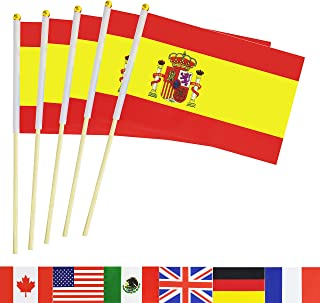 TSMD Spain Stick Flag, 50 Pack Hand Held Small Spanish National Flags On Stick,International World Country Stick Flags Banners,Party Decorations for World Cup,Sports Clubs,Festival Events Celebration