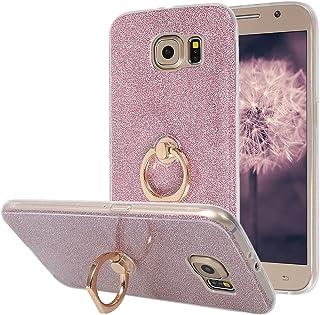 Galaxy S6 Funda con Anillo Moon mood® Suave TPU + Papel Brillo Hybrid 2 en 1 con 360 Rotación Anillo Soporte Función Blin...
