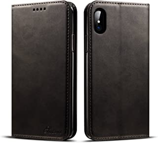iPhone X Wallet Case,TACOO Soft Leather Slim Fit Fold Card Money Holder Slot Magnet Adsorption Protective Men Women Girl Black Durable Cover for Apple iPhone 10 2017