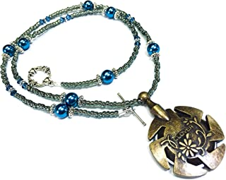 Beaded Yarn Cutter Pendant Necklace- Blue Pearl