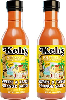 Keli's Sweet & Tangy Orange Sauce. Vegan Polynesian Sweet & Sour, Soy Free Creamy Salad Dressing, Glazing and Dipping Sauce with a hint of Mustard. All Natural, Non GMO. (15oz) (Pack of 2)