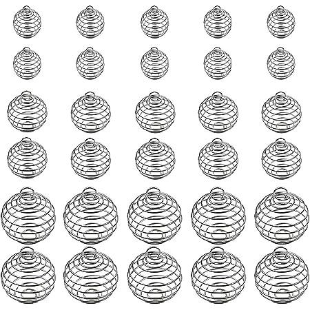 Seatecks 30 Pezzi spirale pendente Branelli a Spirale Pendente Gabbia Branello 3 dimensioni per monili fai da te fanno creazione di gioielli (15mm 25mm 30mm)