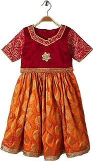 Mom's Girl Yellow Maroon Lehenga Choli Indian Ethnic Girls Party Dresses