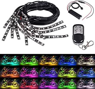 LED Strip Lights Kit Justech 12PCs Motorcycle 15 Colors RGB 126LEDs Neon Flexible Light Strip Kit Motorbike LED Lights Wireless Remote with 8PCs 90cm Extension Cable Wire