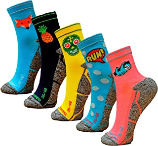 Hoopoe Running Apparel, HOOPOE Pack Calcetines Running Mix, 5 Pares, Hombres, Mujer, Divertidos, Foxblue, Skully, Comic, Pineapple, Lazy, Tallas 36-45