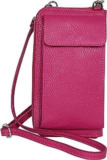 AmbraModa GLX21 - borsa a tracolla multifunzionale, borsa per cellulare a portafoglio in vera pelle, adatta per telefoni c...