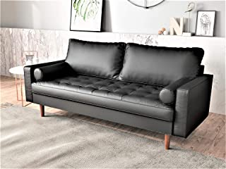 Container Furniture Direct Orion Mid Century Modern PU Leather Upholstered Living Room Loveseat with Bolster Pillows, 69.68