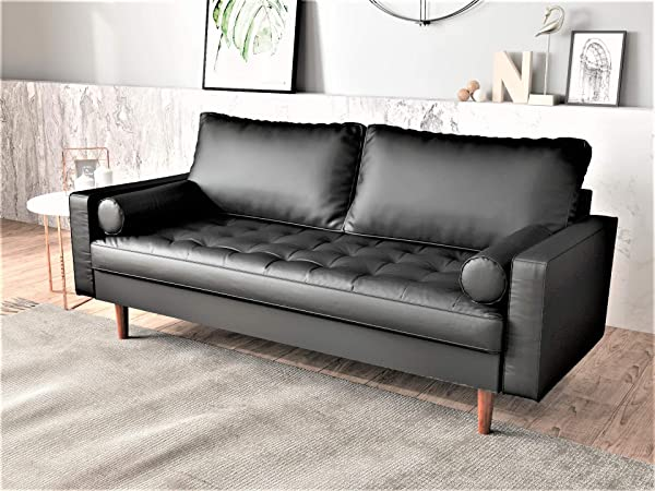 Container Furniture Direct S5452 S Orion Mid Century Modern PU Leather Upholstered Living Room Loveseat With Bolster Pillows 69 68 Black