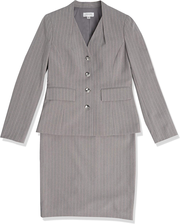 Tahari ASL Women's Collarless 4 Button Striped Jacket and Skirt Set