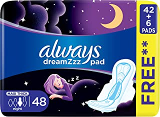 Always Dreamzz Pad Clean & Dry Maxi Thick, Night Long Sanitary Pads with Wings, 8 Count