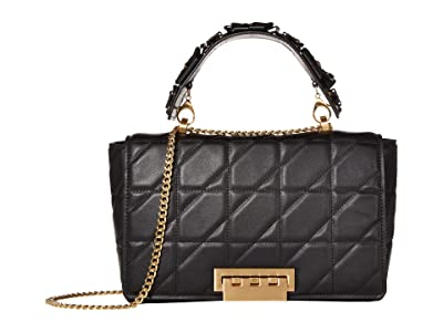 ZAC Zac Posen Earthette Jumbo Soft Chain Shoulder Solid Quilted (Black) Handbags