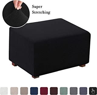 Flamingo P Ottoman Slipcovers Stretch Fabric Storage Ottoman Covers Footrest Sofa Slipcovers Footstool Protector Covers (Black, Normal Size)