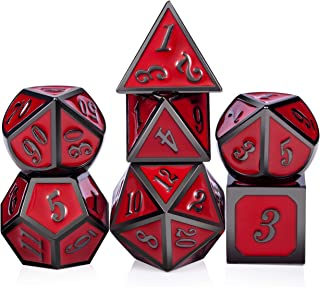 Red D&D Game Dice,7 die Polyhedral Metal Dice with Gift Metal Tin for RPG DND Dungeons and Dragons Dice Collector Board Game Player