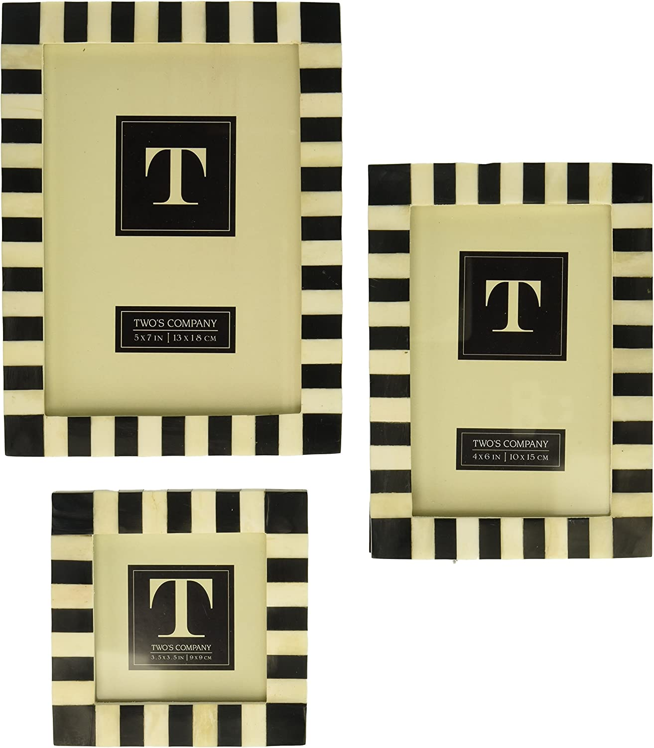 Two's Company 51460 Striped Set of 3 B&W Frame in 3 Size s