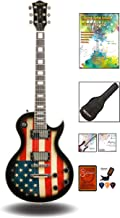 Leo Jaymz Full Size Single Cut Electric Guitar - with Amazing US Flag Sticker on Curved Top - Grover Machine Heads Installed - Super Light String and Extra Set as Spare Parts