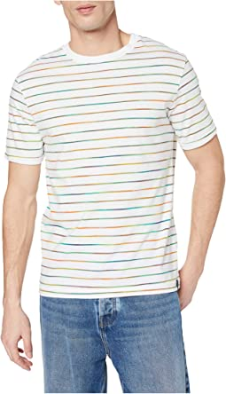 Crew Neck Tee with Multicoloured Stripe Pattern