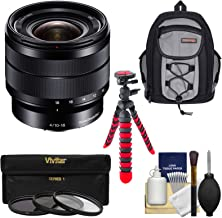 Sony Alpha E-Mount 10-18mm f/4.0 OSS Wide-Angle Zoom Lens with Backpack + 3 Filters + Tripod Kit for A7, A7R, A7S Mark II, A5100, A6000, A6300 Cameras