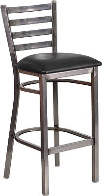 Flash Furniture HERCULES Series Clear Coated Ladder Back Metal Restaurant Barstool - Black Vinyl Seat