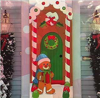 Midwood Brands, LLC Christmas Door Covers - Santa Christmas Lights, Christmas Eve, Gingerbread House, Snowman Penguin Sled Ride (Gingerbread House)