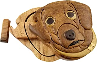 Dog All Natural Exotic Woods Puzzle Box, 4.25 x 4 x 2 with Sliding Wooden Key Lock, Sliding Cover and Inner Lid to Hidden Compartment. Hand-made Wood Onlay Design on Lid.