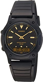 Casio Men's Quartz Watch, Analog-Digital Display and Resin Strap Aw-49He-1Avdf, Black Band