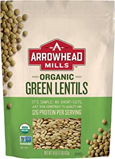 Arrowhead Mills Organic Green Lentils, 16 oz. Bag (Pack of 6)