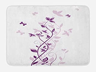Ambesonne Purple Bath Mat, Violet Tree Swirling Persian Lilac Blooms with Butterfly Ornamental Plant Graphic, Plush Bathroom Decor Mat with Non Slip Backing, 29.5