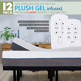 Blissful Nights Split King Adjustable Bed Frame with Wireless Remotes, Head Up Foot Up and 12