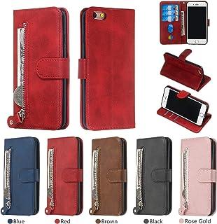 nancencen Hülle Kompatibel mit iPhone 6 / iPhone 6s, Funktionskartenhalter Flip Schutzhülle Silikon Back Cover PU Leder Brieftasche Handytasche im Bookstyle Funktion (Rot)
