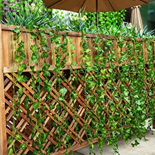 Tenchif 12 Strands Artificial Vines Leaves, 84 Feet Fake Greenery Ivy Garland Hanging Plants for Wedding Party Home Kitchen Garden Wall Swing Outdoor Decoration