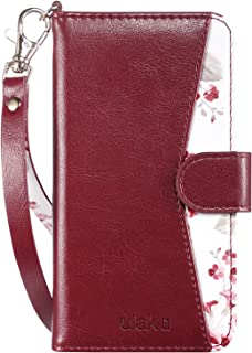 ULAK iPhone 8 Wallet Case with Card Slot, iPhone 7 Case, Premium PU Leather Case with Kickstand Card Holder ID Slot and Hand Strap Shockproof Protective Cover for Apple iPhone 7/8 4.7 Inch Burgundy
