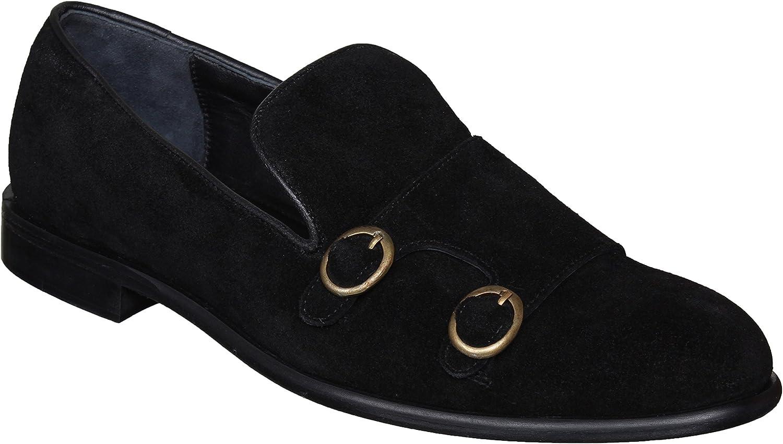 Lozano Black Suede Monk Strap Slip ons Casual shoes Black