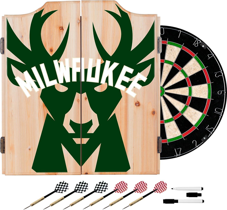 Trademark Gameroom NBA7010MB2 NBA Dart Cabinet Set with Darts & Board  Fade  Milwaukee Bucks