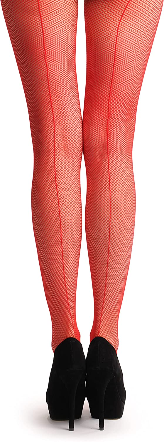 Red Fishnet With Red Seam At The Back - Red Fishnet Designer Pantyhose (Tights)