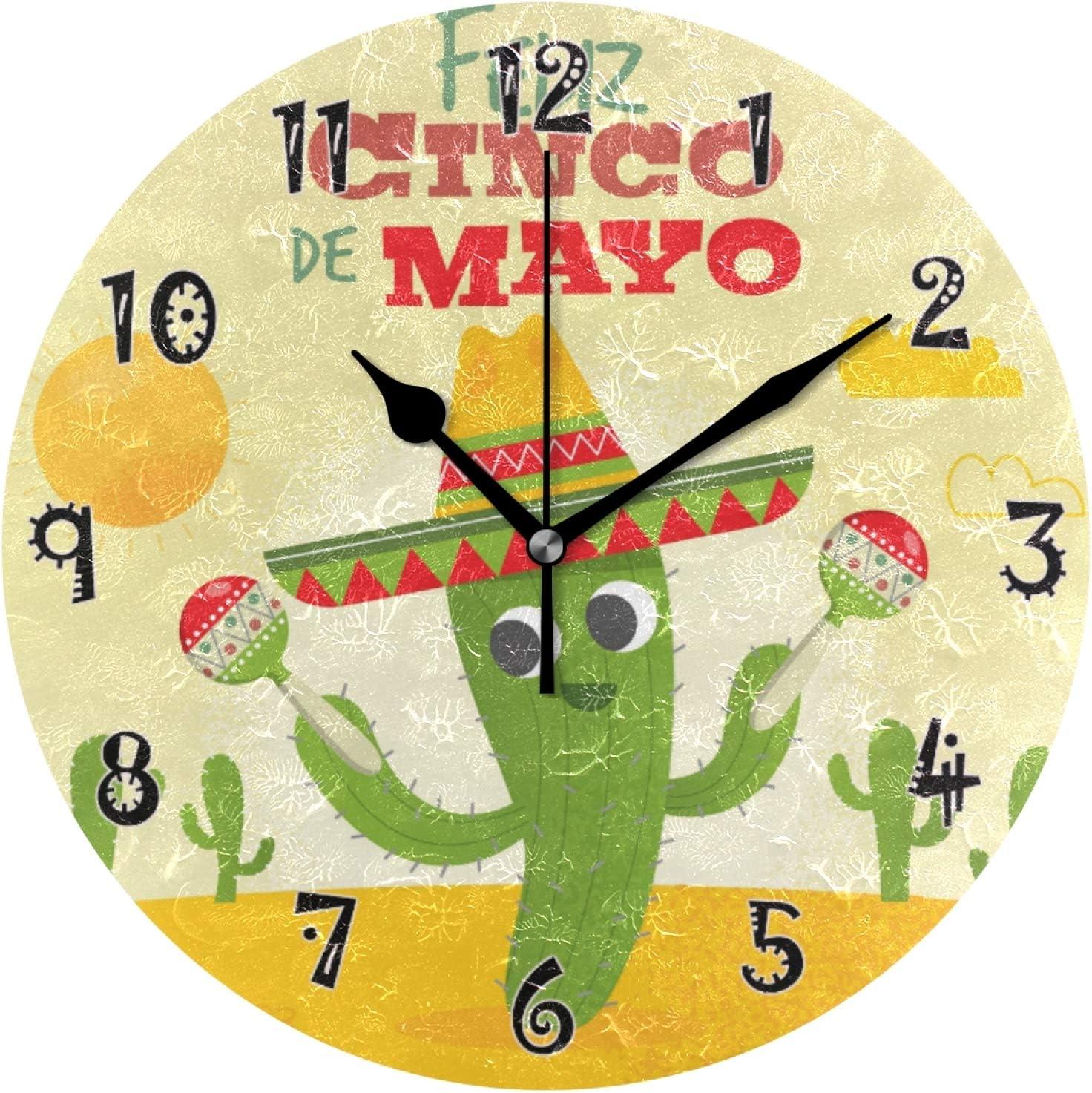 JUMBEAR Cinco De Mayo Cactus Reloj de pared silencioso sin tictac, funciona con pilas, diseño preciso de números árabes decorativos para el hogar, cocina, sala de estar, 10 pulgadas