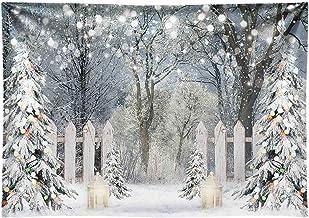 Haoyiyi 12x8ft Winter Wonderland Theme Backdrop White Snow Tree Forest Snowfall Sunshine Photography Background Photo Kids Adults Lover Wedding Birthday New Year Xmas Supplies Decoration