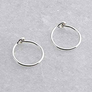 Small 8mm or 0.31 Inch Outer Diameter Sterling Silver Hoop Earrings for Women Fashion Earing Rings Thin 22 Gauge Cartilage...